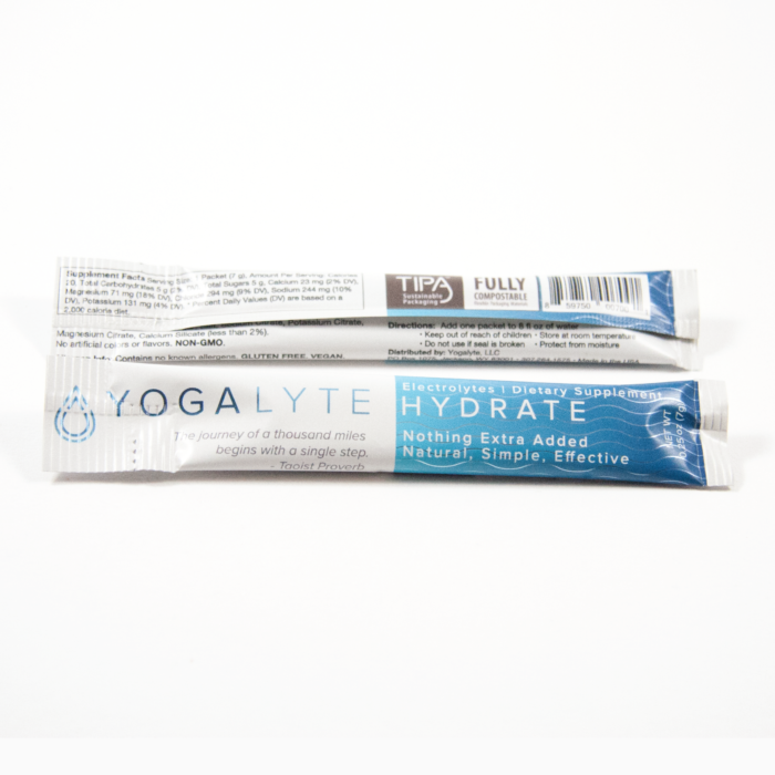 electrolytes, hot yoga, compostable packaging